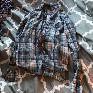 Long sleeve girls flannel button down